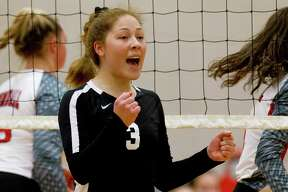 Conroe outside hitter Amanda Rivera (3), shown here in a match against Tomball earlier this month, had nine kills and 10 digs against Aldine Eisenhower on Friday.