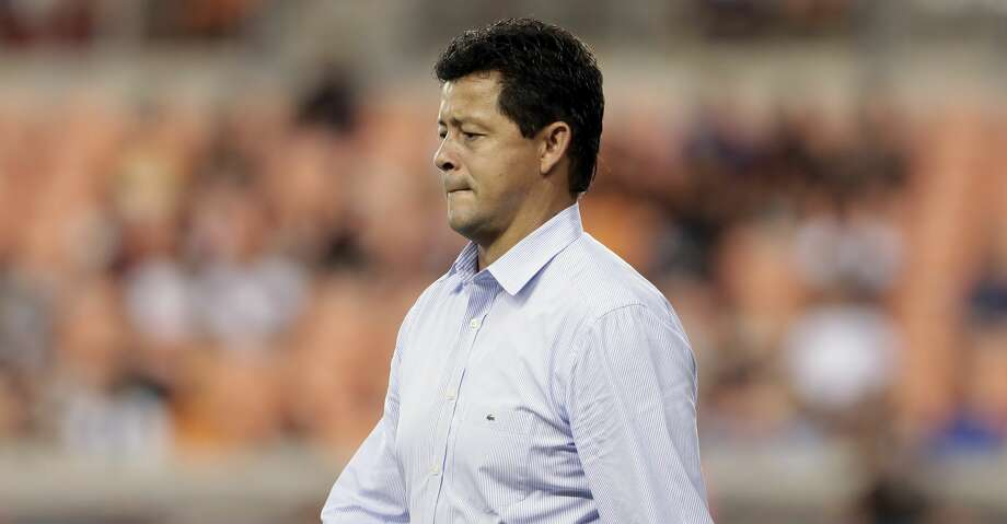 Houston Dynamo head coach Wilmer Cabrera during the second half of an MLS soccer match against the Seattle Sounders Saturday, July 27, 2019, in Houston. (AP Photo/Michael Wyke) Photo: Michael Wyke/Associated Press