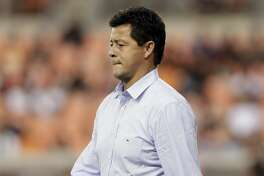 Houston Dynamo head coach Wilmer Cabrera during the second half of an MLS soccer match against the Seattle Sounders Saturday, July 27, 2019, in Houston. (AP Photo/Michael Wyke)