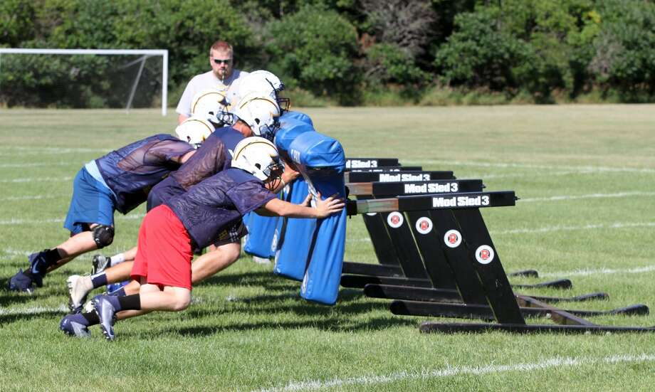 The Bad Axe High School varsity football team holds a practice Tuesday afternoon. Photo: Eric Rutter/Huron Daily Tribune