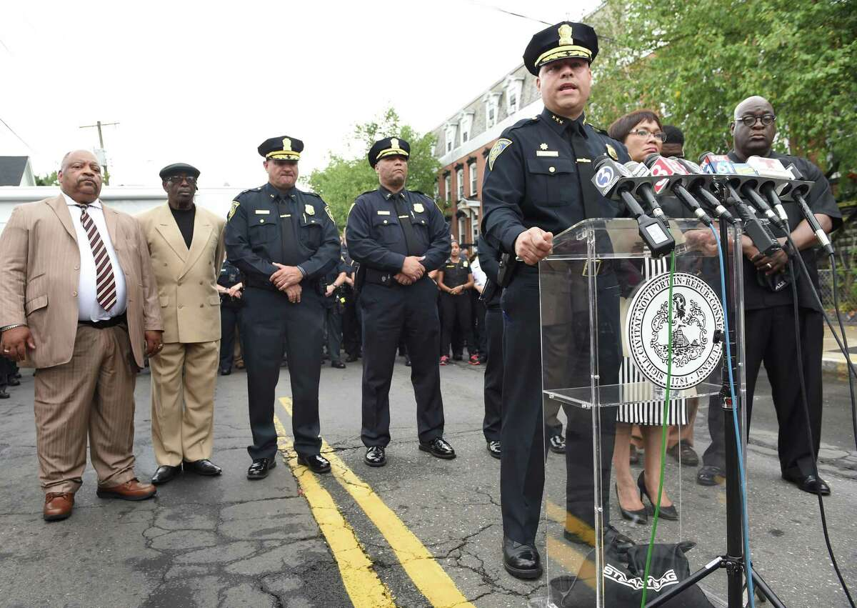 New Haven Police Chief Otoniel Reyes speaks to the press on Henry Street in New Haven on August 13, 2019, following the shooting of New Haven police Capt. Anthony Duff the previous night responding to a shooting while off-duty.