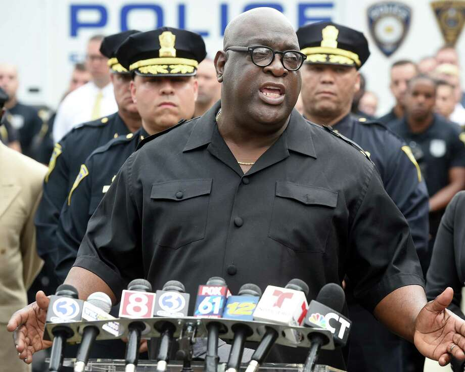 Rev. Boise Kimber speaks to the press on Henry Street in New Haven on August 13, 2019 following the shooting of New Haven Police Captain Anthony Duff the previous night responding to a shooting while off-duty. Photo: Arnold Gold / Hearst Connecticut Media / New Haven Register