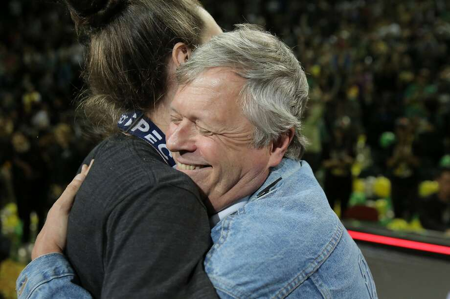 Storm head coach Dan Hughes hugs Breanna Stewart during a rally at KeyArena to celebrate the Storm winning the 2018 WNBA basketball championship, Sunday, Sept. 16, 2018, in Seattle.  (Genna Martin, seattlepi.com) Photo: Genna Martin, SEATTLEPI.COM