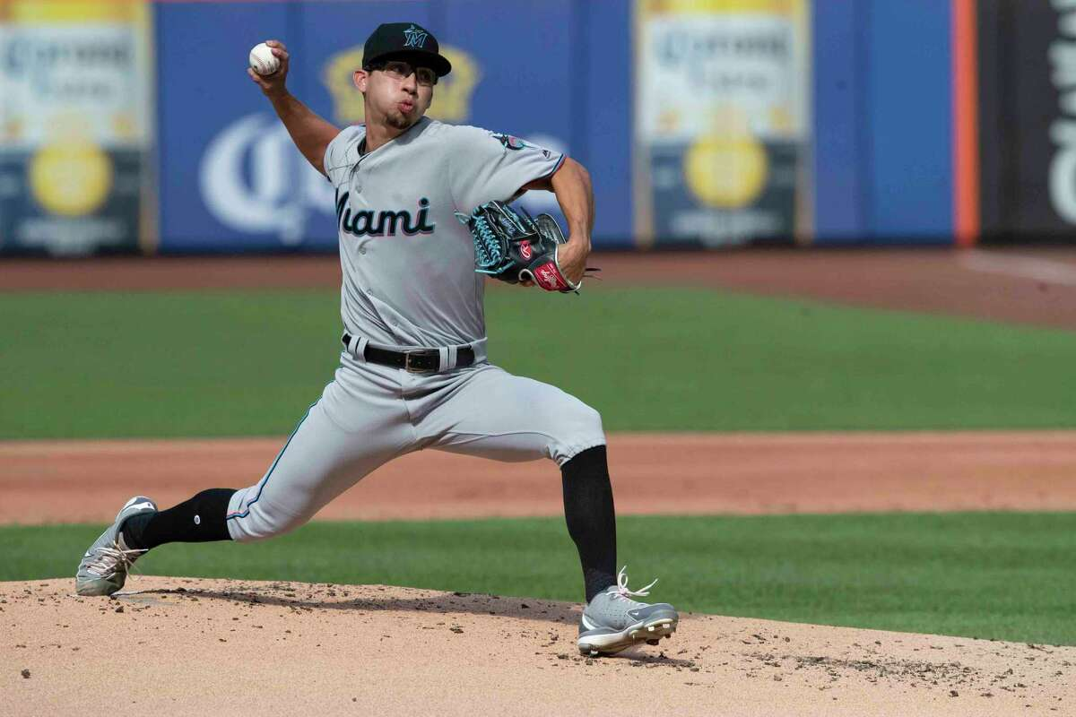 Miami Marlins starting pitcher Robert Dugger, 2013 Tomball graduate, delivers in his major league debut during the first inning of a baseball game against the New York Mets, Monday, Aug. 5, 2019, in New York.