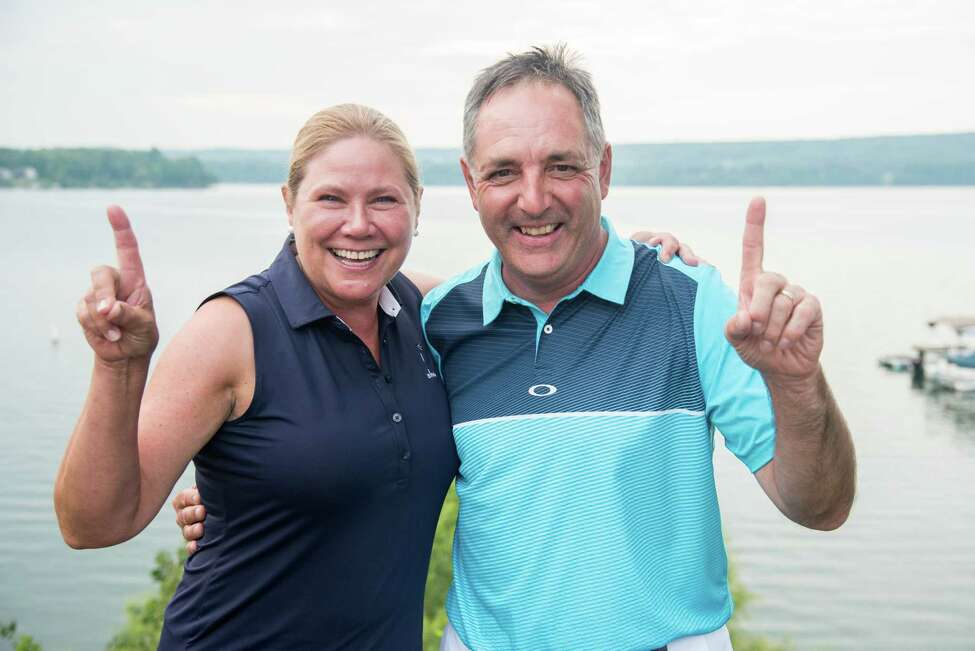 Nancy Kroll of Pinehaven had a hole-in-one in the senior division of the New York State Golf Association's seventh annual Mixed Team Championships at the Teugega Country Club in Rome. She and partner David Ehlinger of Pinehaven tied for fifth. (Dan Thompson/NYSGA)