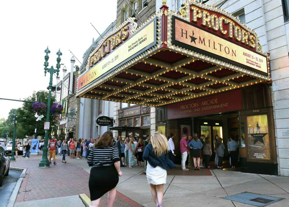 "A long line is seen going into Proctors Theatre as people arrive for the opening night performance of ""Hamilton"" on Tuesday, Aug. 13, 2019 in Schenectady, N.Y. (Lori Van Buren/Times Union) Photo: Lori Van Buren, Albany Times Union / 20047648A"