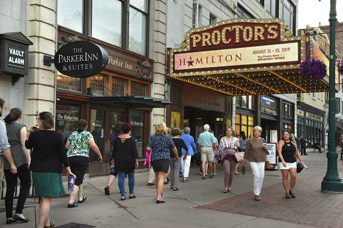 A long line is seen going into Proctors Theatre as people arrive for the opening night performance of