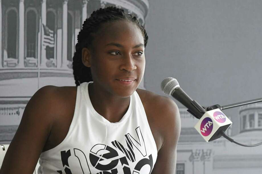 WASHINGTON, DC - JULY 26:  Coco Gauff address the media during the Citi Open - Preview at Rock Creek Tennis Center on July 26, 2019 in Washington, DC.  (Photo by Mitchell Layton/Getty Images) Photo: Mitchell Layton / 2019 Getty Images