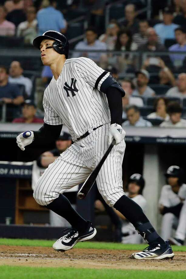 New York Yankees' Aaron Judge follows through on a two-run double during the fourth inning of a baseball game against the Baltimore Orioles on Tuesday, Aug. 13, 2019, in New York. (AP Photo/Frank Franklin II) Photo: Frank Franklin II / Copyright 2019 The Associated Press. All rights reserved.