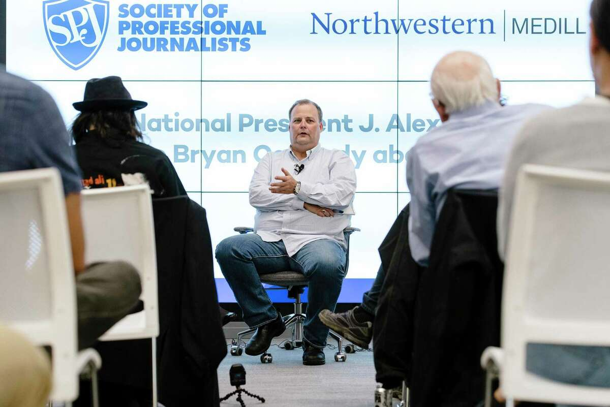 Freelance journalist Bryan Carmody, whose home was raided by the San Francisco Police Department, speaks during a Q&A with the Society of Professional Journalists in San Francisco, Calif, on Tuesday, Aug. 13, 2019.