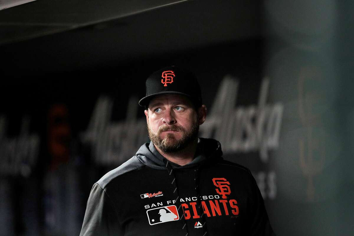 Stephen Vogt (21) in the dugout as the San Francisco Giants played the Oakland Athletics at Oracle Park in San Francisco, Calif., on Tuesday, August 13, 2019.
