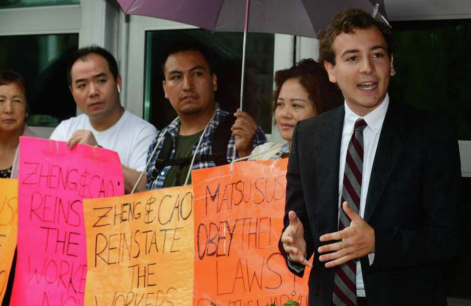State Senator Will Haskell joins protestors and labor leaders to protest the firing two Matsu Sushi staff members during a picket of the restaurant on Tuesday, Aug. 13 in Westport. Photo: Erik Trautmann / Hearst Connecticut Media / Norwalk Hour