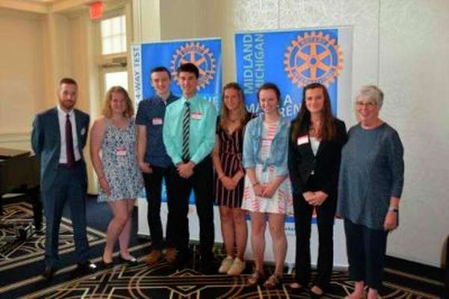 From left, Rotary scholarship recipients Matt Granzo, Rotarian; Grace Pnacek, Cody Hunt, Ethan Grabill, Delaney Randall, Morgan Simons, Madison Greene; and Carol Feider, Rotarian. (Photo provided)