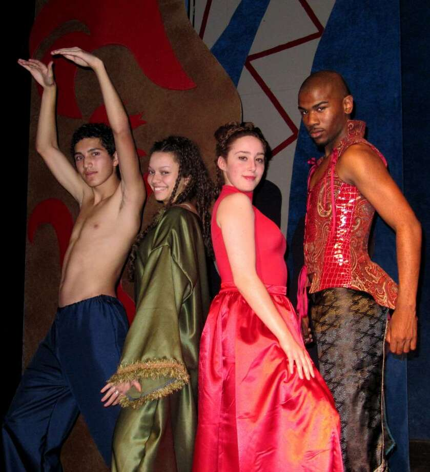 Edwin Rosales, Alia Munsch, Rachel Schulte and Demerre Files play the gods who test mere mortals in Curtain Call's Summer Youth Theatre presentation of 'Once On This Island.' Photo: Contributed Photo / Stamford Advocate Contributed