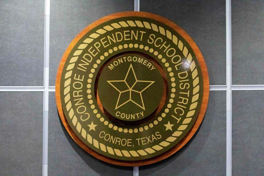 The seal for CISD is seen during a CISD Board of Trustees public budget hearing Tuesday, August 6, 2019 at CISD administration building in Conroe. Photo: Cody Bahn, Houston Chronicle / Staff Photographer / © 2019 Houston Chronicle