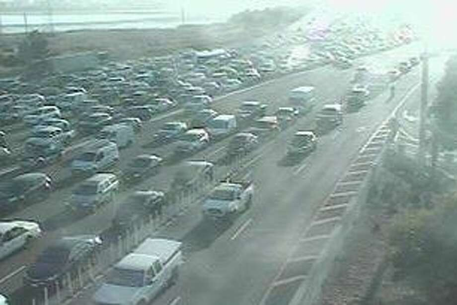 Traffic backed up well into Berkeley Wednesday morning after a crash in the left HOV lane. Photo: Caltrans