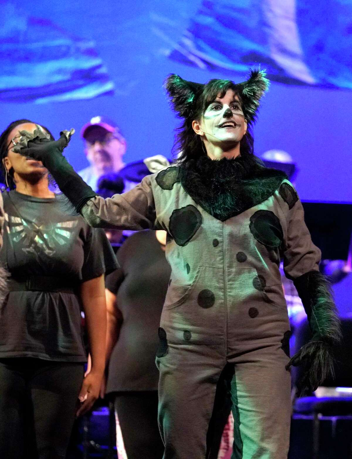 """Heather Hughes plays Shezi the hyena during a dress rehearsal of the Night Court show, """"Law of the Jungle II"""" at the Hobby Center, 800 Bagby St., Sunday, Aug. 11, 2019, in Houston."""