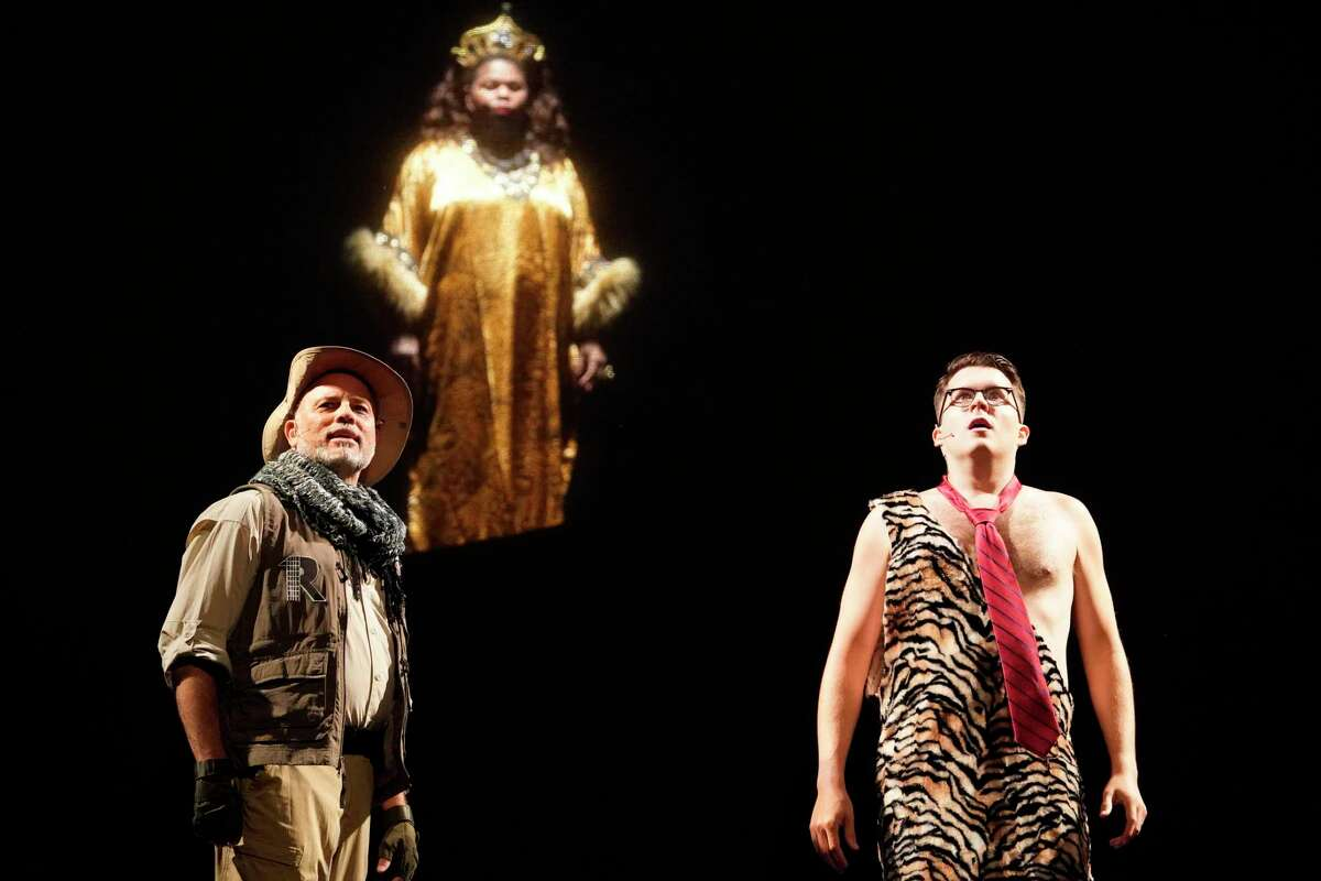 """Rob Musemeche, plays Nigel Rimkus, left, Trina Perkins, as The Queen, and Matthew Harper, as George, right, during a dress rehearsal of the Night Court show, """"Law of the Jungle II"""" at the Hobby Center, 800 Bagby St., Sunday, Aug. 11, 2019, in Houston."""