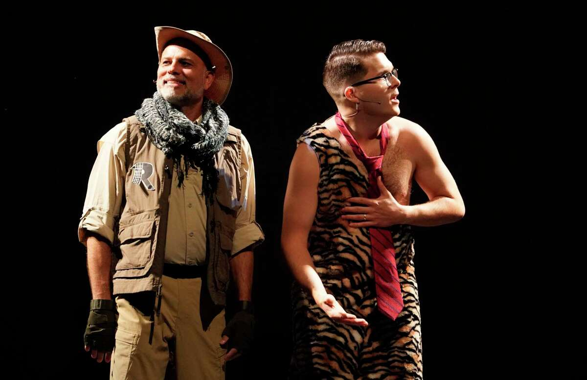 """Rob Musemeche, plays Nigel Rimkus, left, and Matthew Harper, as George, right, during a dress rehearsal of the Night Court show, """"Law of the Jungle II"""" at the Hobby Center, 800 Bagby St., Sunday, Aug. 11, 2019, in Houston."""