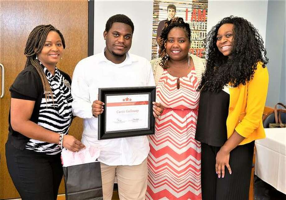 Receiving one of the SSP Shining Star Awards was Curtis Galloway. L-R: Fannie Acoff, SSP program coordinator, Makesha Lee Harris, EdD, assistant director for Pre-Collegiate Programs and SSP program director; and Capri Wroten, SSP graduate assistant. Photo: For The Intelligencer