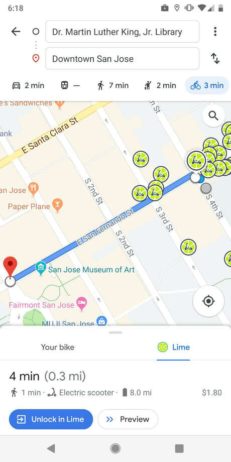 Google Maps is teaming up with Lime to show cell phone users where they can find available Lime scooters. Photo: Lime & Google Maps