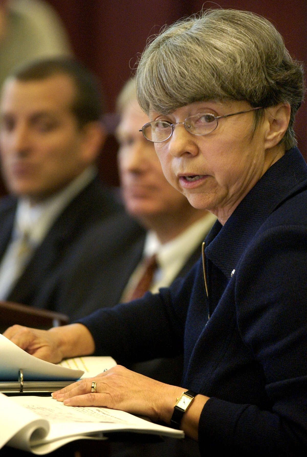 Independent investigator, Mary Jo White, releases her groups findings on the alleged sexual misconduct of Bishop Howard Hubbard, Thursday at Albany Law School, June 24 2004. (TIMES UNION STAFF PHOTO WILL WALDRON)