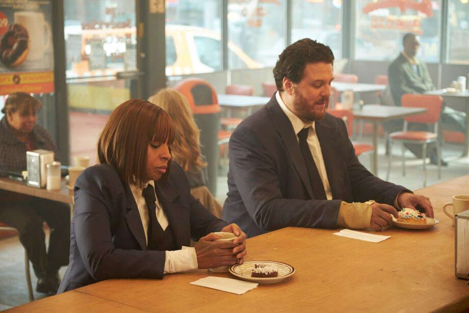 "Cha Cha (Mary J. Blige) and Hazel (Cameron Britton) are time-traveling hitmen in the Netflix adaptation ""The Umbrella Academy."" Photo: Netflix / Handout"