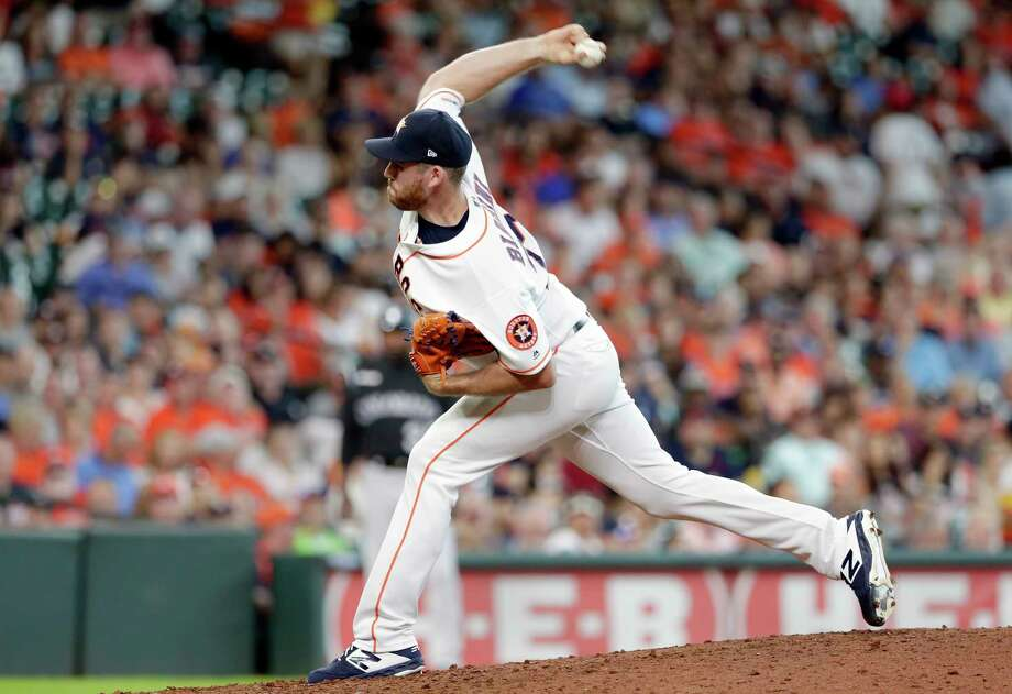 PHOTOS: Houston Astros 2019 fan giveaways  Houston Astros relief pitcher Joe Biagini throws during a baseball game against the Colorado Rockies Wednesday, August 7, 2019, in Houston. (AP Photo/Michael Wyke)  >>>See the remaining Astros fan freebies at Minute Maid Park this season ... Photo: Michael Wyke, Associated Press / Copyright 2019 The Associated Press. All rights reserved.