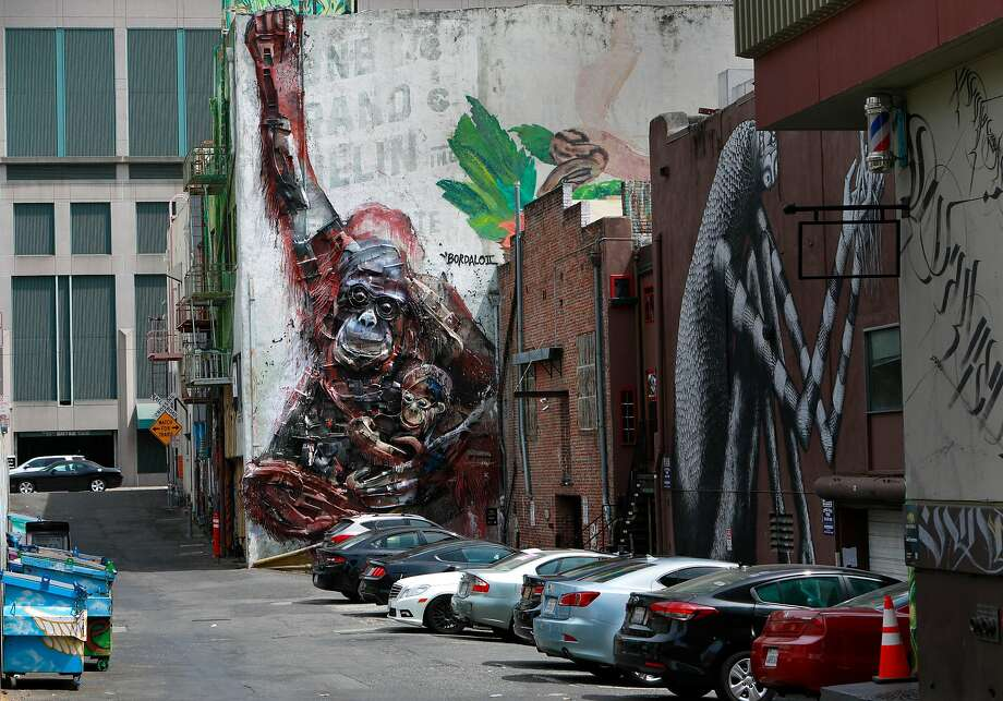 Bordalo II's mural in the alley behind 725 J St. in downtown Sacramento. Photo: Michael Macor / Special To The Chronicle
