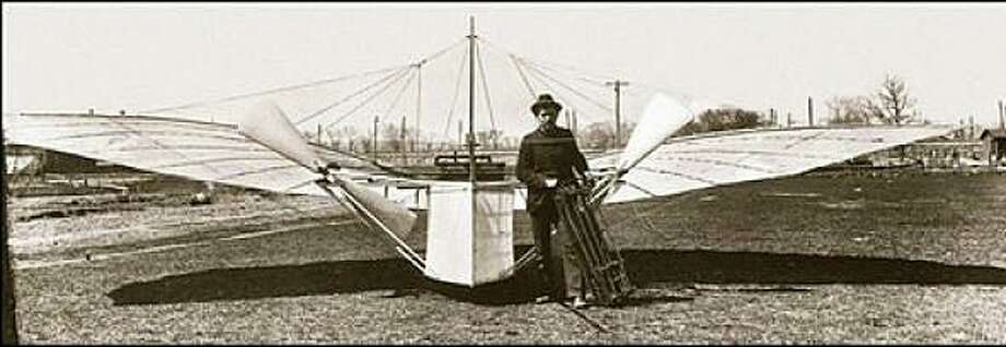 Aviation pioneer Gustave Whitehead with his No. 21 flyer that is believed to have made the first manned flight in Fairfield in 1901. Photo: Contributed Photo / Fairfield Citizen contributed