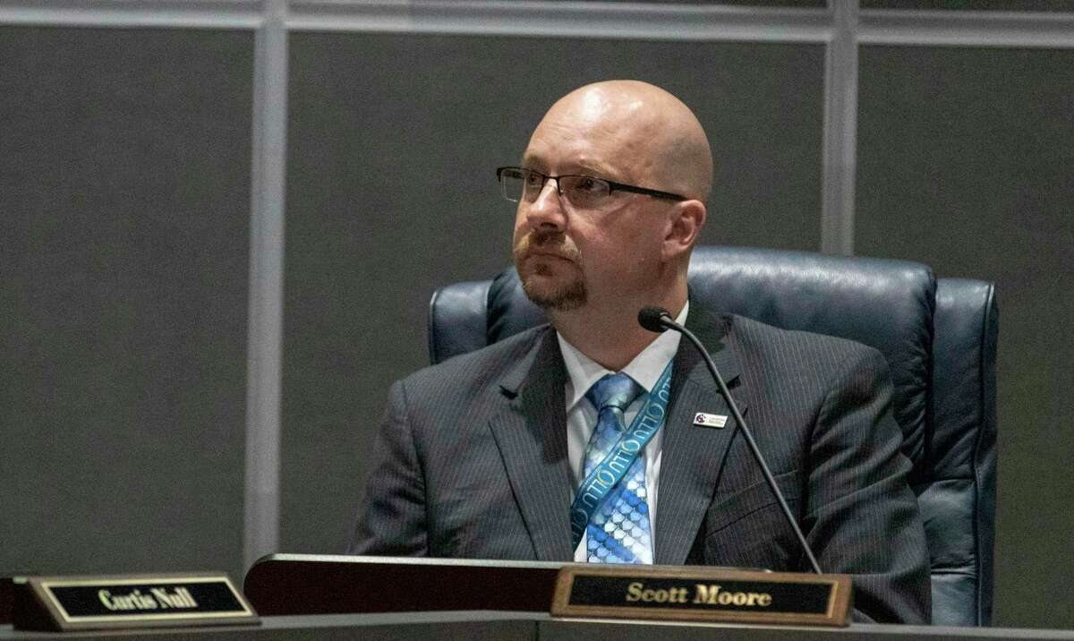 CISD board member Scott Moore listens to a budget presentation during a CISD Board of Trustees public budget hearing Tuesday, August 6, 2019 at CISD administration building in Conroe.