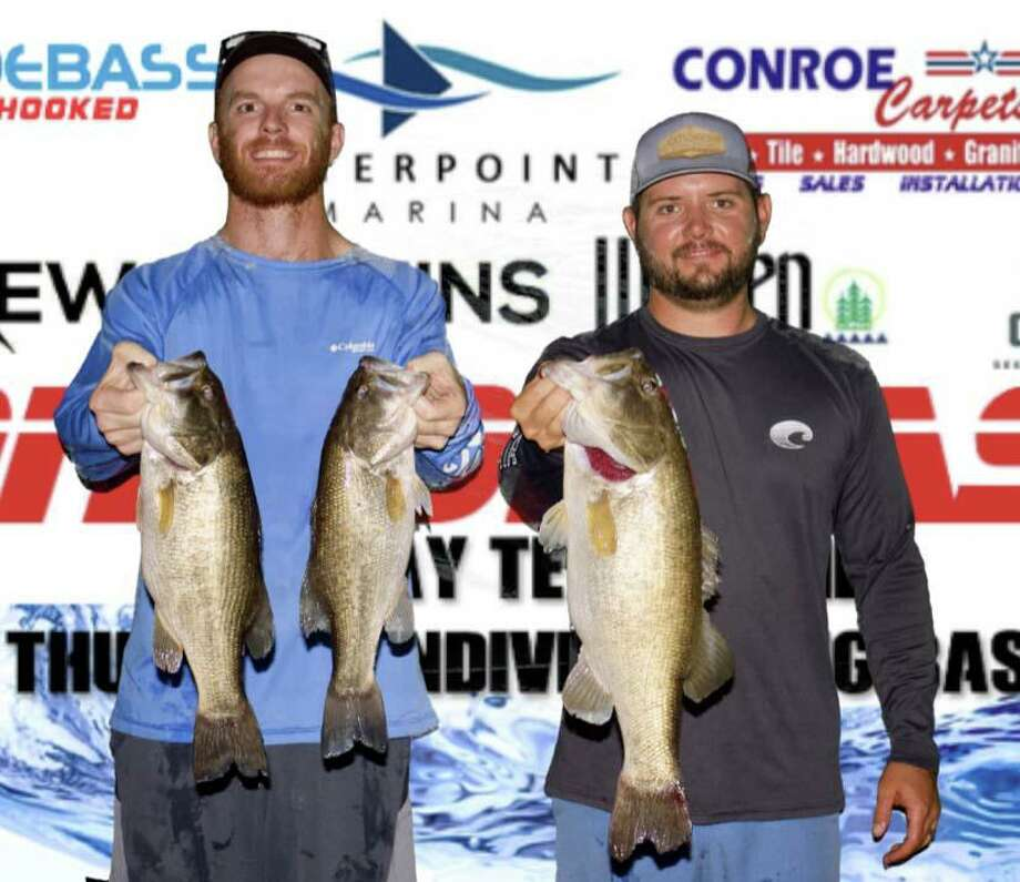 Kyle Nitschke and Tyler Goetzman won the CONROEBASS Tuesday Tournament with a bass weighing 12.04 pounds. Photo: Conroe Bass