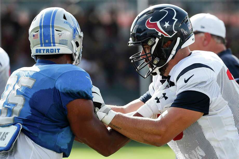 PHOTOS: Texans preseason vs. Rams Detroit Lions defensive end Romeo Okwara (95) and Houston Texans offensive tackle Matt Kalil (75) go up against each other during a joint training camp practice with the Detroit Lions at the Houston Methodist Training Center on Houston, Wednesday, Aug. 14, 2019. >>>See photos from the Texans' preseason finale against the Rams ... Photo: Brett Coomer, Staff Photographer / © 2019 Houston Chronicle