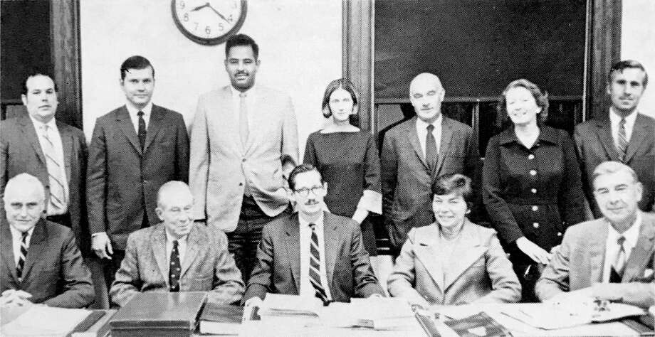 Terry Cody Spring, who is in the center of the back row, is pictured with other members of New Canaan's first Town Council in 1970. She will be honored by New Canaan Democrats on Sunday, Sept. 15. In front are Town Council members Yorke Allen Jr., Charles K. Dickson, Chairman William M. Throop, Jennifer Delage and James G. Rogers. In back are Walter A. Stewart Jr., F. Donald Brigham Jr., Maurice W. Gilmore, Spring, Carlton E. Vanderwarker, Elizabeth P. Erb and George Bremser Jr. Photo: New Canaan Democrats / Contributed Photo / New Canaan Advertiser Contributed