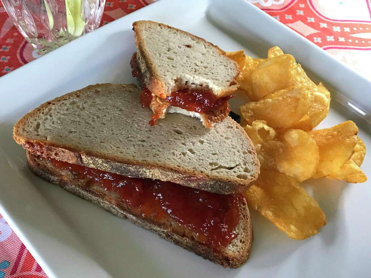Spicy Tomato Jam and Cashew Butter Sandwich with Zapp's Voodoo chips
