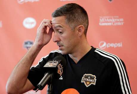 Davy Arnaud answers questions during a press conference at the team's practice facility announcing Arnaud as the interim Dynamo head coach, replacing Wilmer Cabrerra, for the remaining nine games of their season Wednesday, Aug. 14, 2019 in Houston, TX.