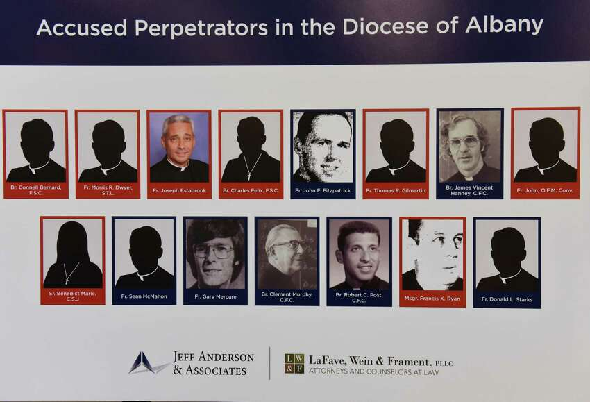 A poster board listing accused perpetrators in the Diocese of Albany is shown as Jeff Anderson announces 20 lawsuits filed against the Albany Diocese on the first day the Child Victims Act at the Hilton Albany on Wednesday, Aug. 14, 2019 in Albany, N.Y. The act allows a one-year period for claims to be filed regardless of the age of the plaintiff. (Lori Van Buren/Times Union)
