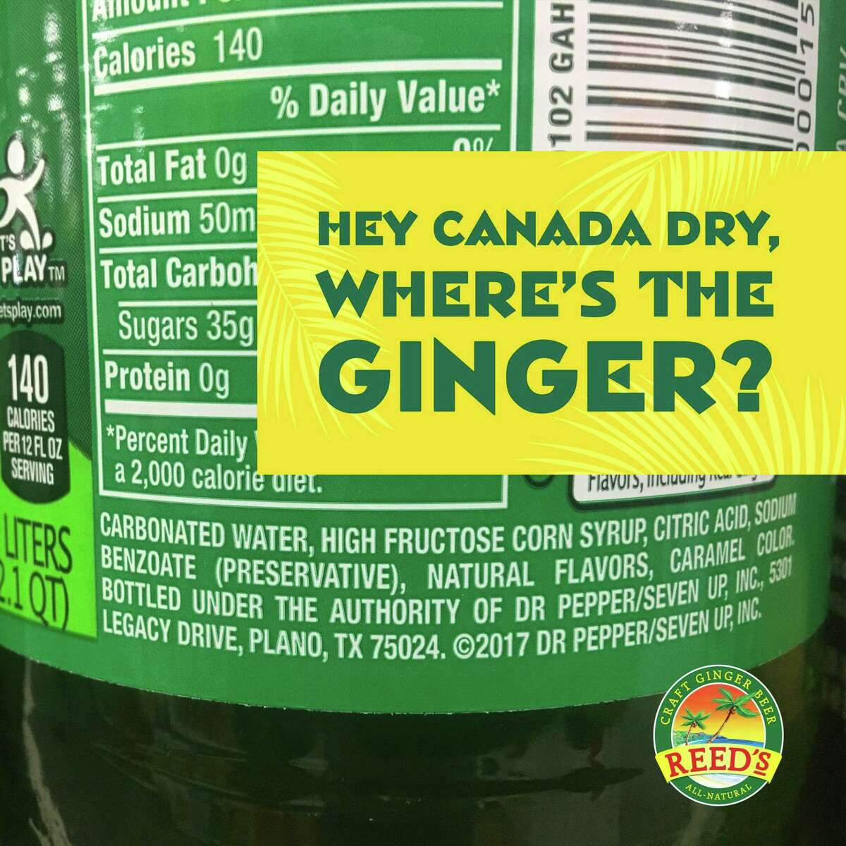 A promotional image issued by Reed's as part of a campaign to contrast the Norwalk company's ginger beer with that sold by the Canada Dry division of Dr Pepper/Seven Up. (Press image via Reed's)