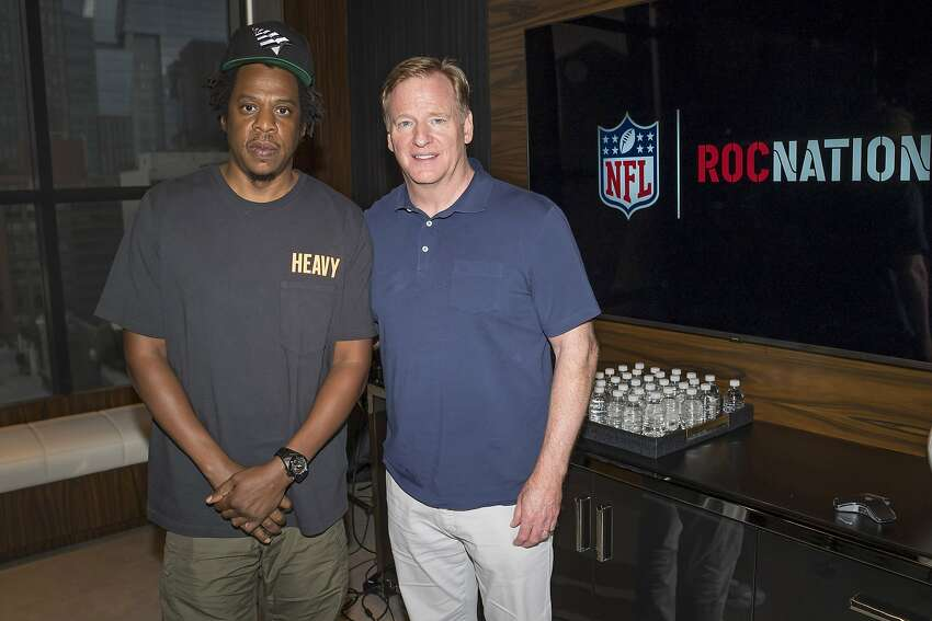 Jay-Z and NFL Commissioner Roger Goodell attend a news conference at ROC Nation on Wednesday, Aug. 14, 2019 in New York. The NFL partnered with the music entrepreneur to help with the league's social justice efforts, a move that was widely criticized.