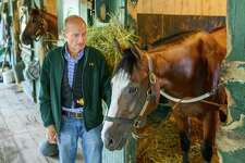 Trainer Barclay Tagg hangs out with 2 year old Tiz the Law owned by Sakatoga Stables Wednesday Aug. 14, 2019 at the Saratoga Race Course in Saratoga Springs, N.Y. Photo by The Jockey Club