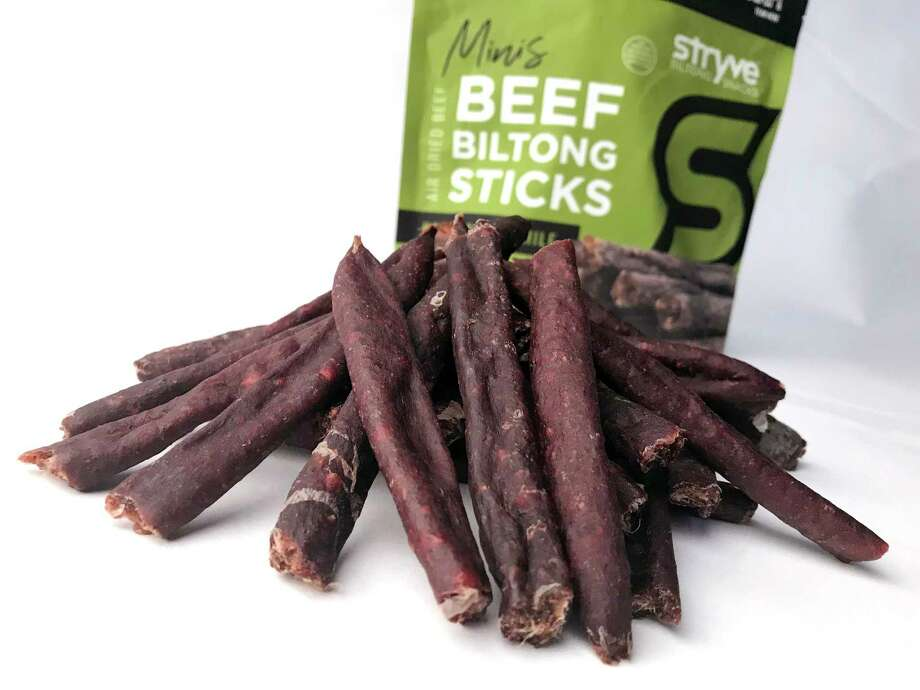 Beef biltong sticks flavored with Hatch chile from the Plano-based Stryve. Photo: Paul Stephen / Staff
