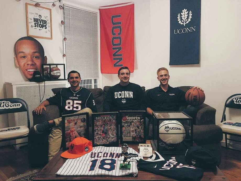 Orange's Jeremy Longobardi, North Haven's Kevin Korstep and New Jersey's Kevin Solomon, all UConn grads, founded the Husky Ticket Project, which sends underprivileged kids to UConn games through donations. Photo: Contributed Photo / Copyright 2019. All rights reserved.