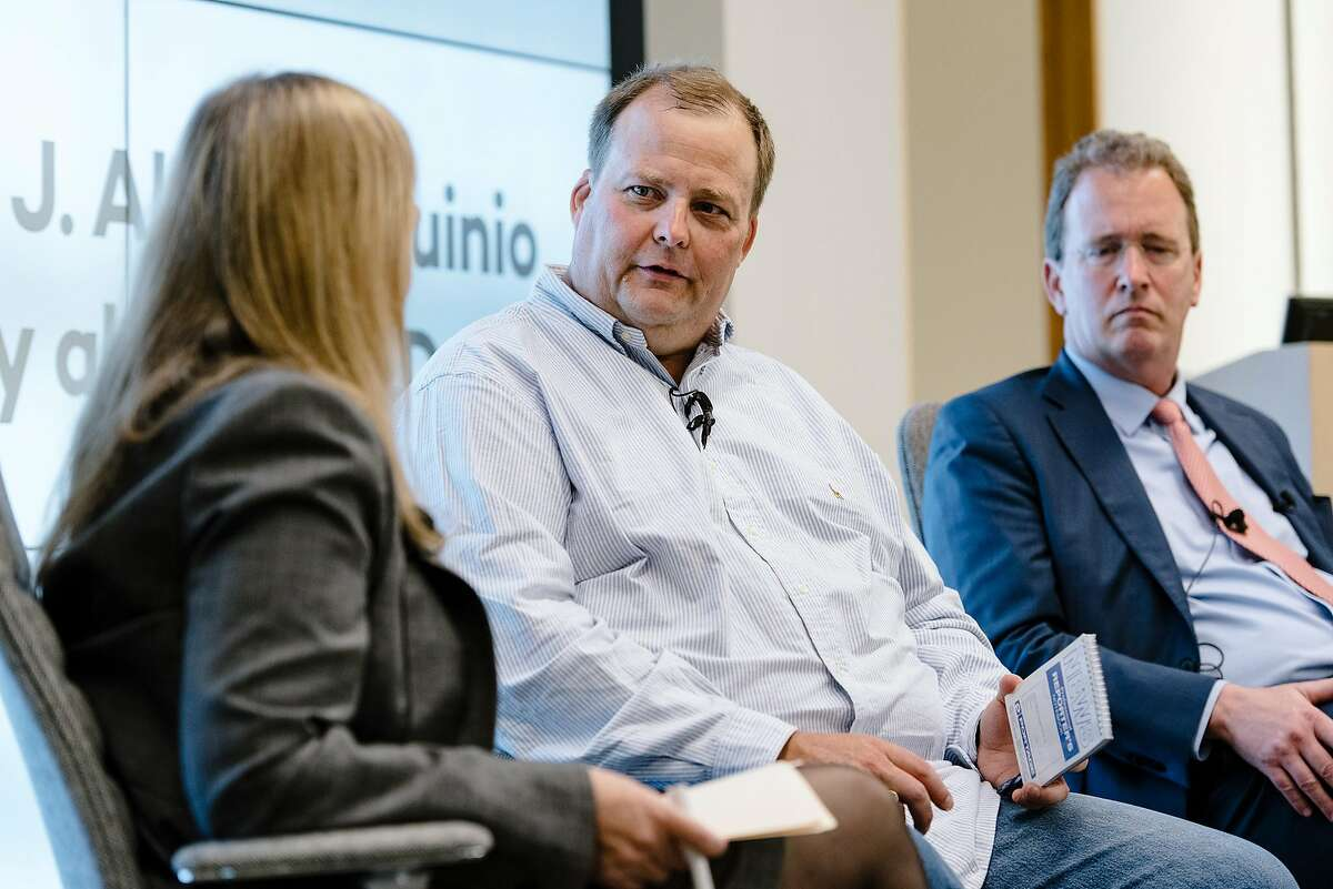 Freelance journalist Bryan Carmody, center, whose home and newsroom was raided by the San Francisco Police Department, speaks during a Q&A with the Society of Professional Journalists president J. Alex Tarquinio, left, and his lawyer Thomas Burke, in San Francisco, Calif, on Tuesday, August 13, 2019.