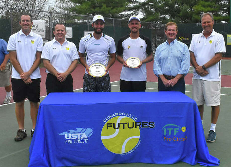 Pictured from left to right are co-tournament director Kirk Schlueter, tournament treasurer Paul Abert, EGHM Foundation President Joe Gugger, champion Petros Chrysochos, runner-up Nathan Ponwith and tournament director Dave Lipe. Photo: Matt Kamp|The Intelligencer