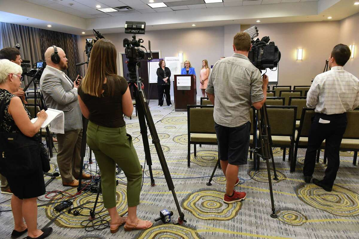 Attorney Cynthia LaFave speaks during a press conference where Jeff Anderson announced 20 lawsuits filed against the Albany Diocese on the first day the Child Victims Act at the Hilton Albany on Wednesday, Aug. 14, 2019 in Albany, N.Y. The act allows a one-year period for claims to be filed regardless of the age of the plaintiff. (Lori Van Buren/Times Union)