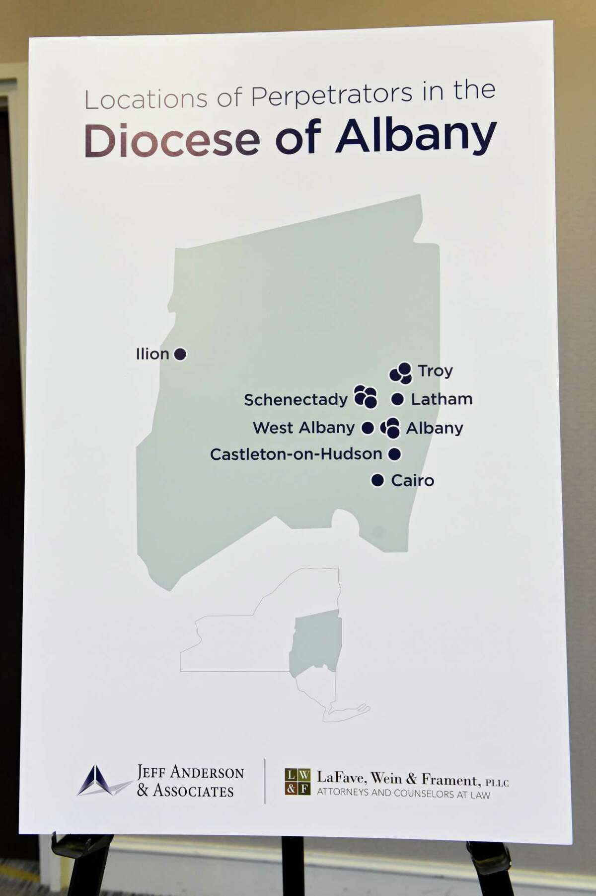 A poster shows the locations of perpetrators in the Diocese of Albany is shown as Jeff Anderson announces 20 lawsuits filed against the Albany Diocese on the first day the Child Victims Act at the Hilton Albany on Wednesday, Aug. 14, 2019 in Albany, N.Y. The act allows a one-year period for claims to be filed regardless of the age of the plaintiff. (Lori Van Buren/Times Union)