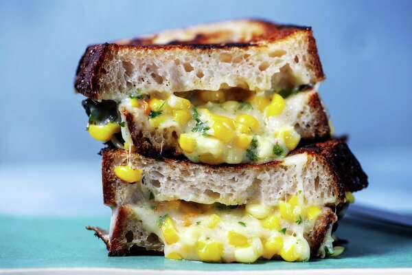 Korean Cheesy Corn Grilled Cheese. (Styled by Nidia Cueva) (Mariah Tauger/Los Angeles Times/TNS)
