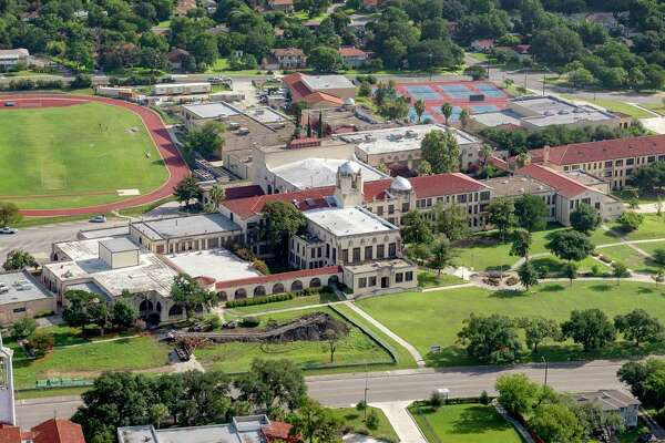 Jefferson High School, seen in a June 29 aerial photo, is among the larger of the roughly 40 SAISD campuses experiencing problems with air conditioning during the first week of the new school year.