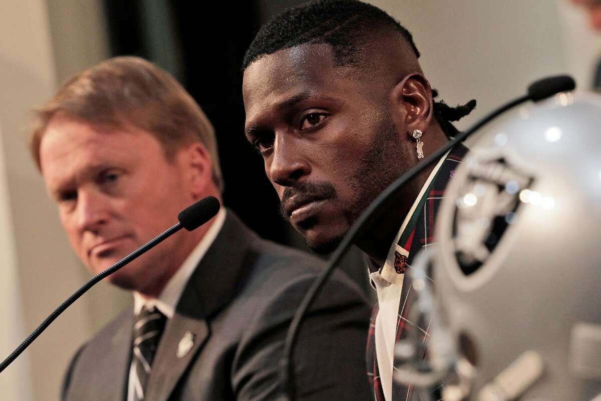 Antonio Brown listens to a question during a press conference where the Raiders announced the acquisition of the wide receiver at their team headquarters in Alameda, Calif., on Wednesday, March 13, 2019.