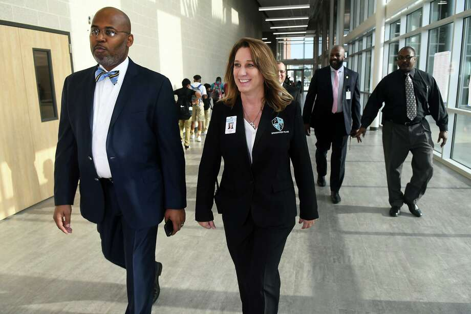 Spring ISD Superintendent Dr. Rodney Watson, left, takes a tour of Springwoods Village Middle School with Principal Kimberly Culley on the first day of school, August 14, 2019. Photo: Jerry Baker, Houston Chronicle / Contributor / Houston Chronicle